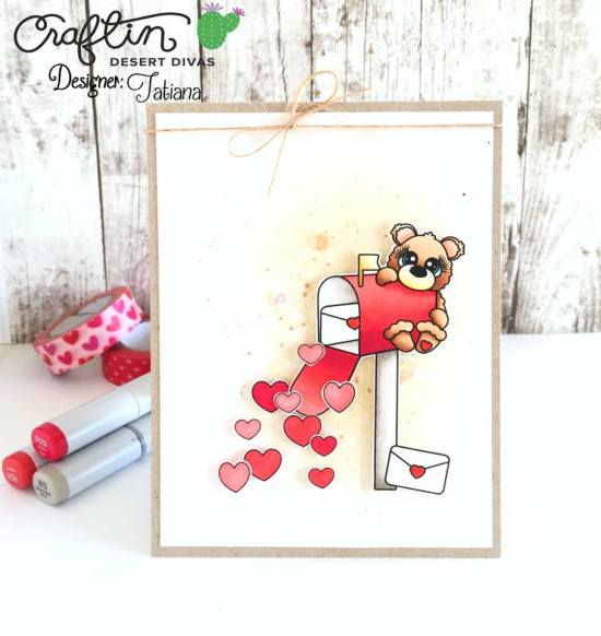Happy Mail #handmadecard by Tatiana Trafimovich #tatianacraftandart - Little Lovelies Bear With Mailbox Digital Stamp by Craftin Desert Divas #craftindeserdivas