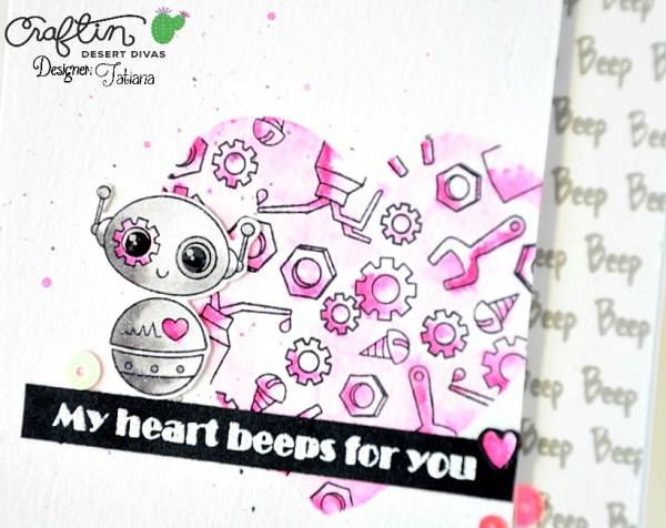 My Heart Beeps For You #handmadecard by Tatiana Trafimovich #tatianacraftandart - Spare Parts Stamp set by Craftin Desert Divas #craftindeserdivas