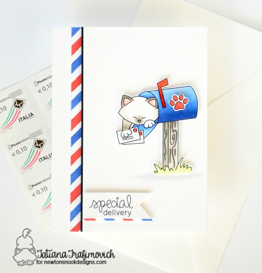 Special Delivery #handmadecard by Tatiana Trafimovich #tatianacraftandart - Newton's Happy Mail Stamp set by Newton's Nook Designs #newtonsnook
