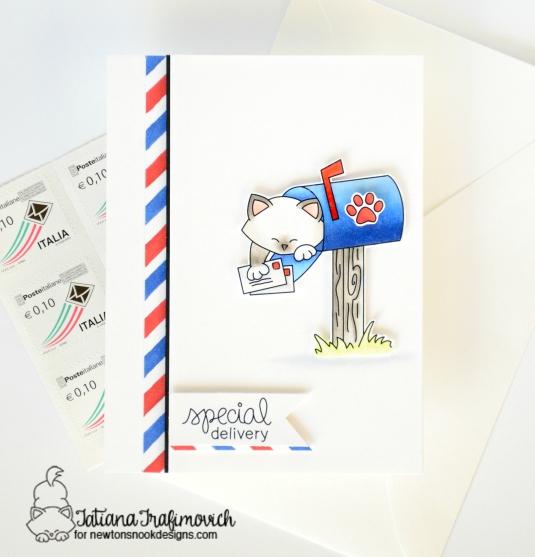 Special Delivery #handmadecard by Tatiana Trafimovich #tatianacraftandart - Newton's Happy Mail Stamp set by Newton's Nook Designs #newtonsnook