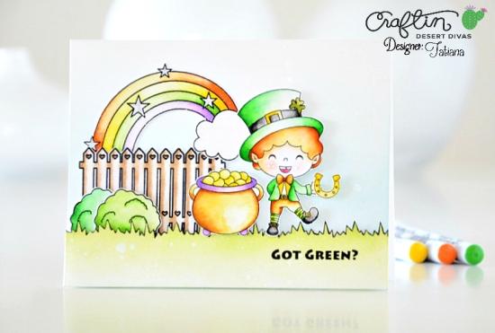 Got Green? #handmadecard by Tatiana Trafimovich #tatianacraftandart - Happy Go Lucky digi stamp by Craftin Desert Divas #craftindeserdivas