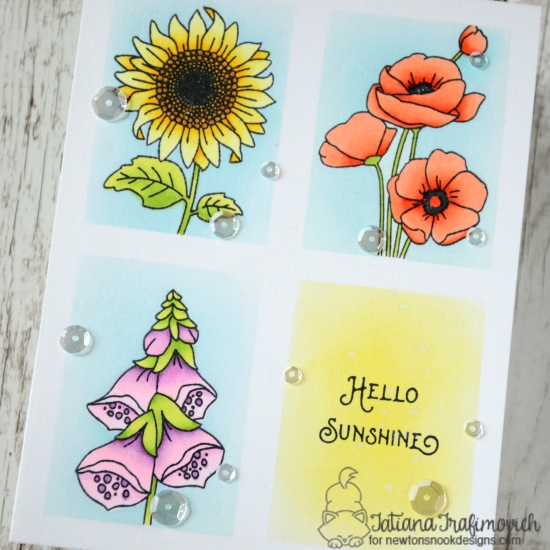 Hello Sunshine #handmade birthday card by Tatiana Trafimovich #tatianacraftandart - Flower Garden Stamp set by Newton's Nook Designs #newtonsnook