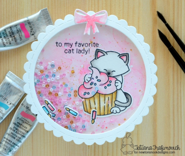 To My Favorite Cat Lady #handmade birthday card by Tatiana Trafimovich #tatianacraftandart - Newton Loves Cake Stamp set by Newton's Nook Designs #newtonsnook