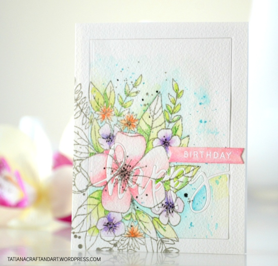 Happy Birthday #handmade card by Tatiana Trafimovich #tatianacraftandart - Hello Lovely Stamp set by Concord & 9 #concordand9