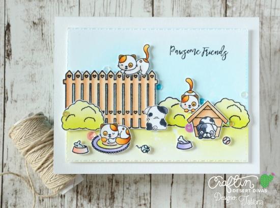 Pawsome Friends #handmadecard by Tatiana Trafimovich #tatianacraftandart - Pawsome Friends stamp set by Craftin Desert Divas #craftindeserdivas