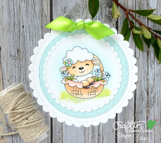 Lamb In A Basket #handmadecard by Tatiana Trafimovich #tatianacraftandart - Lamb In A Basket digi stamp by Craftin Desert Divas #craftindeserdivas