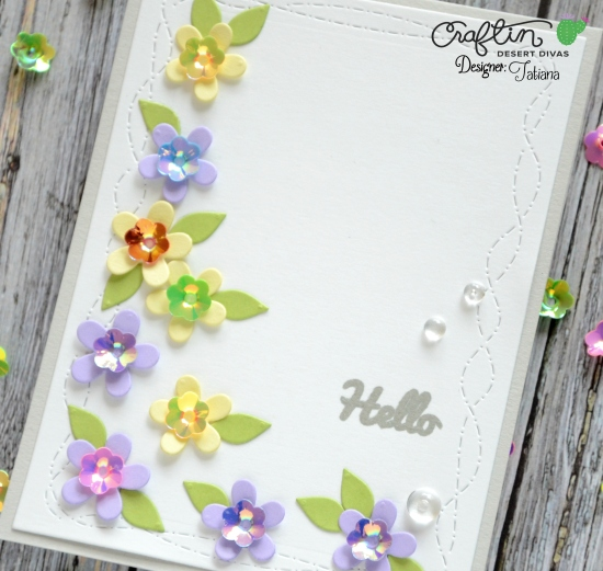 Hello Spring #handmadecard by Tatiana Trafimovich #tatianacraftandart - Crazy Stitched Frame Dies by Craftin Desert Divas #craftindeserdivas