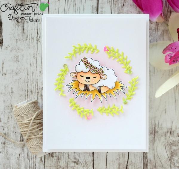 Sleeping Lamb #handmadecard by Tatiana Trafimovich #tatianacraftandart - Sleepng Lamb digi stamp by Craftin Desert Divas #craftindeserdivas