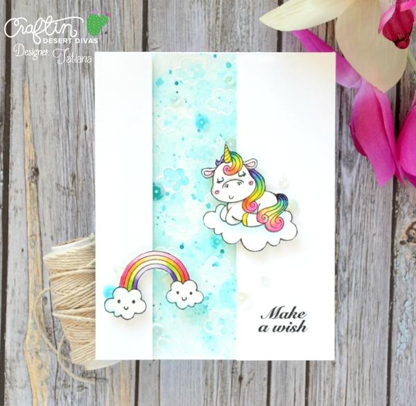 Make A Wish #handmadecard by Tatiana Trafimovich #tatianacraftandart - Magical Unicorns stamp set by Craftin Desert Divas #craftindeserdivas