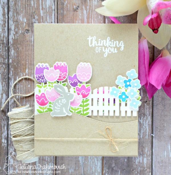 Thinking Of You #handmade card by Tatiana Trafimovich #tatianacraftandart - Cottage Garden Stamp set by Newton's Nook Designs #newtonsnook