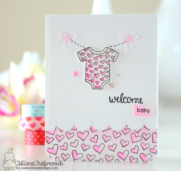 Welcome Baby #handmade card by Tatiana Trafimovich #tatianacraftandart - Lovable Laudry Stamp set by Newton's Nook Designs #newtonsnook