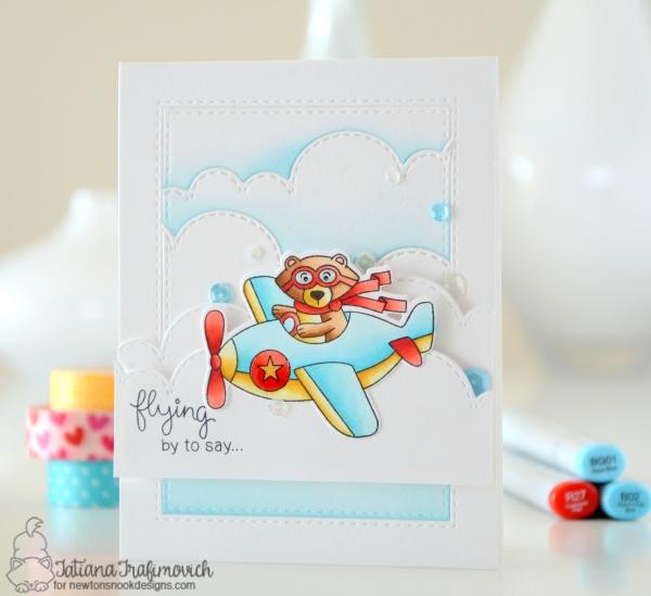 Flying By #handmade card by Tatiana Trafimovich #tatianacraftandart - Winston Takes Flight Stamp set by Newton's Nook Designs #newtonsnook