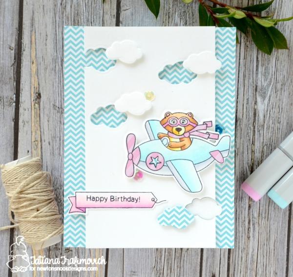 Happy Birthday #handmade card by Tatiana Trafimovich #tatianacraftandart - Winston Takes Flight Stamp set by Newton's Nook Designs #newtonsnook