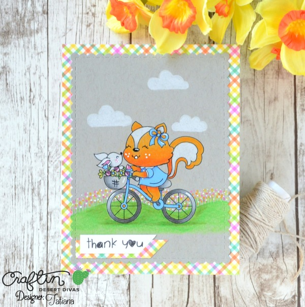 Thank You #handmadecard by Tatiana Trafimovich #tatianacraftandart - Joyful Day digital stamp by Craftin Desert Divas #craftindeserdivas