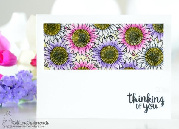 Thinking Of You #handmade card by Tatiana Trafimovich #tatianacraftandart - Flower Garden Stamp set by Newton's Nook Designs #newtonsnook