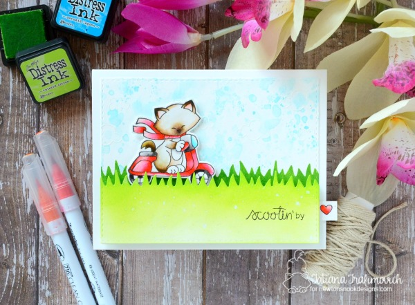 Scootin' By #handmade card by Tatiana Trafimovich #tatianacraftandart - Newton Scoots By stamp set by Newton's Nook Designs #newtonsnook