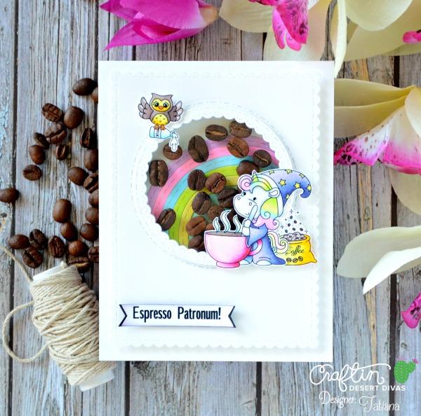 Espresso Patronum #handmadecard by Tatiana Trafimovich #tatianacraftandart - Coffee Wizards stamp set by Craftin Desert Divas #craftindeserdivas