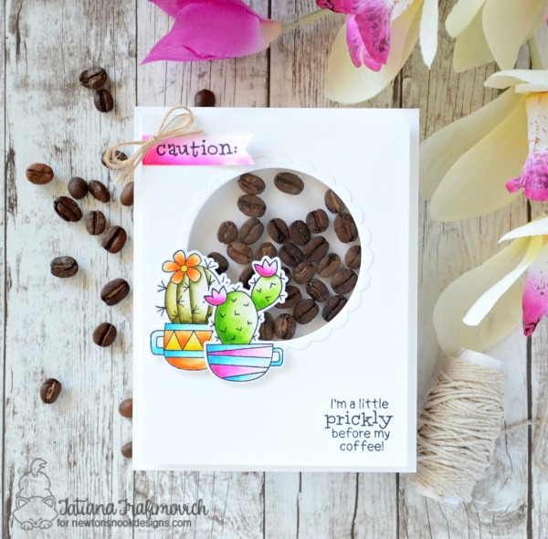 I'm a Little Prickly Before My Coffee #handmade card by Tatiana Trafimovich #tatianacraftandart - Cuppa Cacti stamp set by Newton's Nook Designs #newtonsnook