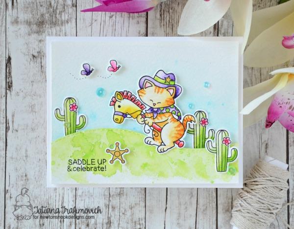 Saddle Up & Celebrate #handmade card by Tatiana Trafimovich #tatianacraftandart - Newton Rides West stamp set by Newton's Nook Designs #newtonsnook
