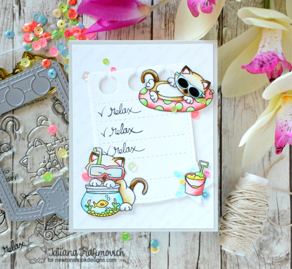 Relax #handmade card by Tatiana Trafimovich #tatianacraftandart - Newton's Summer Vacation stamp set by Newton's Nook Designs #newtonsnook