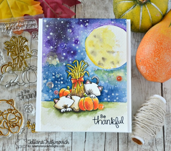 Be Thankful #handmade card by Tatiana Trafimovich #tatianacraftandart - Autumn Newton stamp set by Newton's Nook Designs #newtonsnook