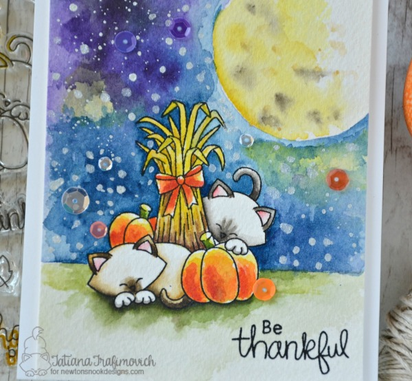 Be Thankful #handmade card by Tatiana Trafimovich #tatianacraftandart - Autumn Newton stamp set by Newton's Nook Designs #newtonsnook
