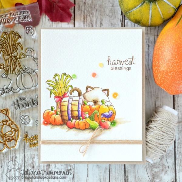 Harvest Blessings #handmade card by Tatiana Trafimovich #tatianacraftandart - Autumn Newton stamp set by Newton's Nook Designs #newtonsnook