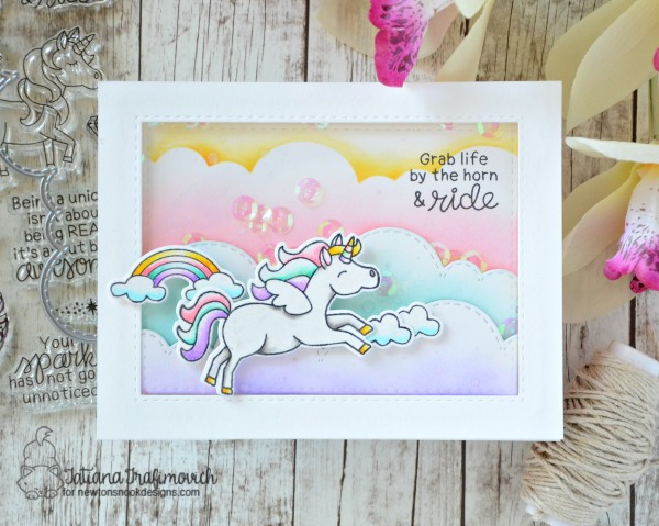 Grab Life By The Horn And Ride #handmade card by Tatiana Trafimovich #tatianacraftandart - Believe in Unicorns stamp set by Newton's Nook Designs #newtonsnook