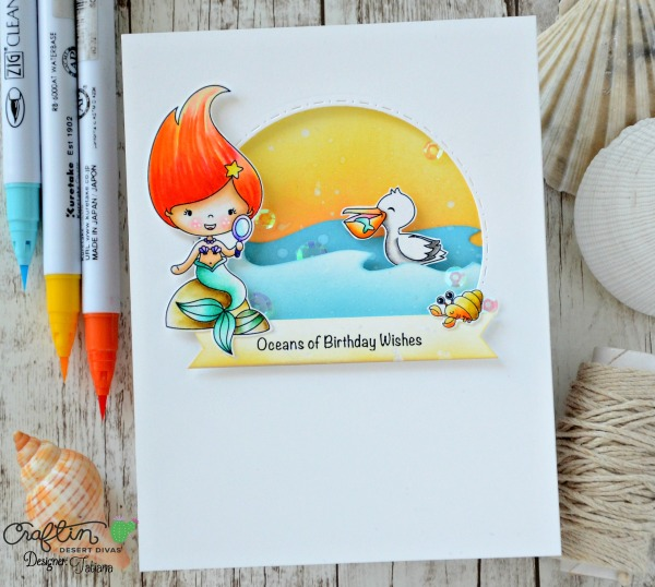 Oceans of Birthday Wishes #handmadecard by Tatiana Trafimovich #tatianacraftandart - Mermaid Lagoon stamp set by Craftin Desert Divas #craftindeserdivas