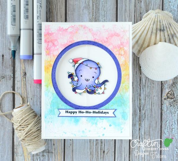 Happy Ho-Ho-Holidays #handmadecard by Tatiana Trafimovich #tatianacraftandart - Merry&Bright digi stamp set by Craftin Desert Divas #craftindeserdivas