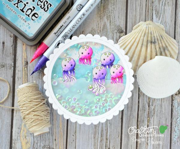 Ocean Friends #handmadecard by Tatiana Trafimovich #tatianacraftandart - Ocean Friends stamp set by Craftin Desert Divas #craftindeserdivas