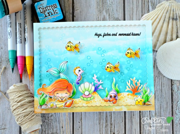 Hugs, Fishes and Mermaid Kisses! #handmadecard by Tatiana Trafimovich #tatianacraftandart - Mermaid Lagoon stamp set by Craftin Desert Divas #craftindeserdivas