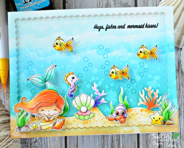 Hugs, Fishes and Mermaid Kisses! #handmadecard by Tatiana Trafimovich #tatianacraftandart - Mermaid Lagoon stamp set by Craftin Desert Divas #craftindeserdivas