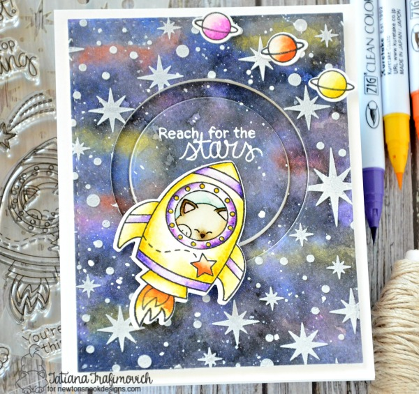 Reach For The Stars #handmade card by Tatiana Trafimovich #tatianacraftandart - Cosmic Newton stamp set by Newton's Nook Designs #newtonsnook