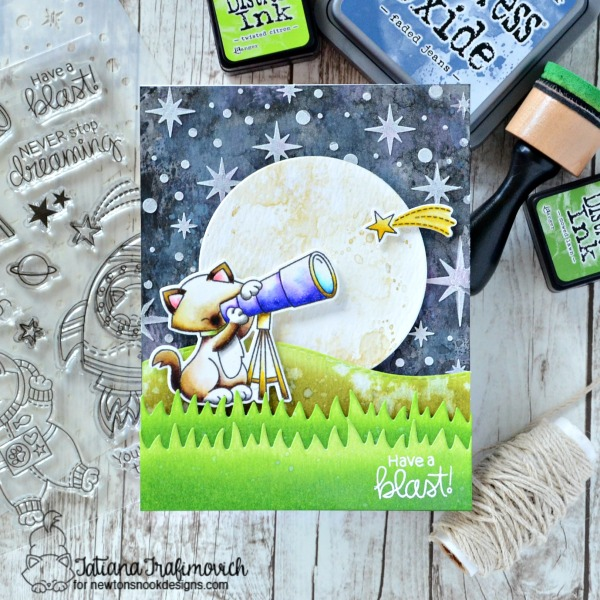 Have A Blast! #handmade card by Tatiana Trafimovich #tatianacraftandart - Cosmic Newton stamp set by Newton's Nook Designs #newtonsnook