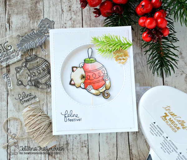 Feline Festive! #handmade card by Tatiana Trafimovich #tatianacraftandart - Ornamental Newton stamp set by Newton's Nook Designs #newtonsnook