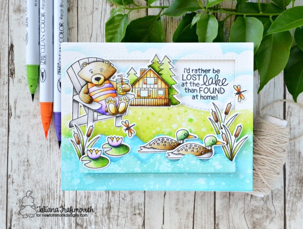I'd Rather Be Lost At The Lake #handmade card by Tatiana Trafimovich #tatianacraftandart - Winston's Lake House stamp set by Newton's Nook Designs #newtonsnook