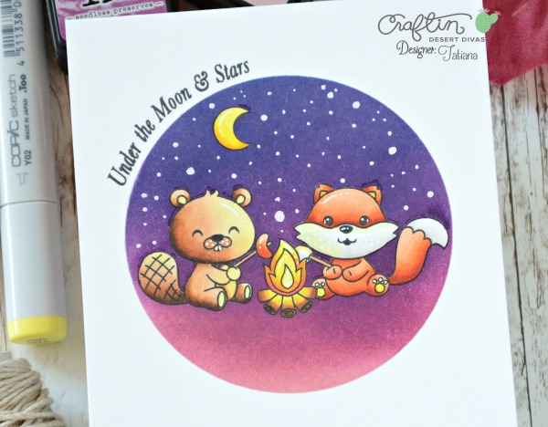 Under The Moon And Stars #handmadecard by Tatiana Trafimovich #tatianacraftandart - Happy Camper stamp set by Craftin Desert Divas #craftindeserdivas