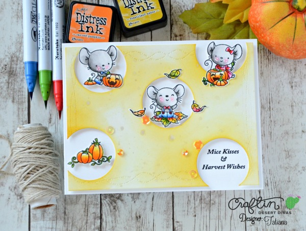 Mice Kisses And Harvest Wishes #handmadecard by Tatiana Trafimovich #tatianacraftandart - Happy Camper stamp set by Craftin Desert Divas #craftindeserdivas
