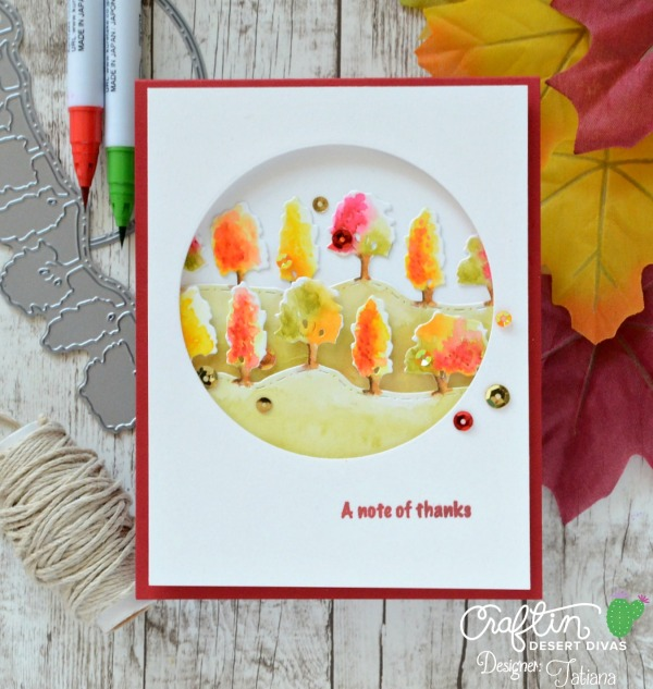A Note Of Thanks #handmadecard by Tatiana Trafimovich #tatianacraftandart - Fall Border dies by Craftin Desert Divas #craftindeserdivas