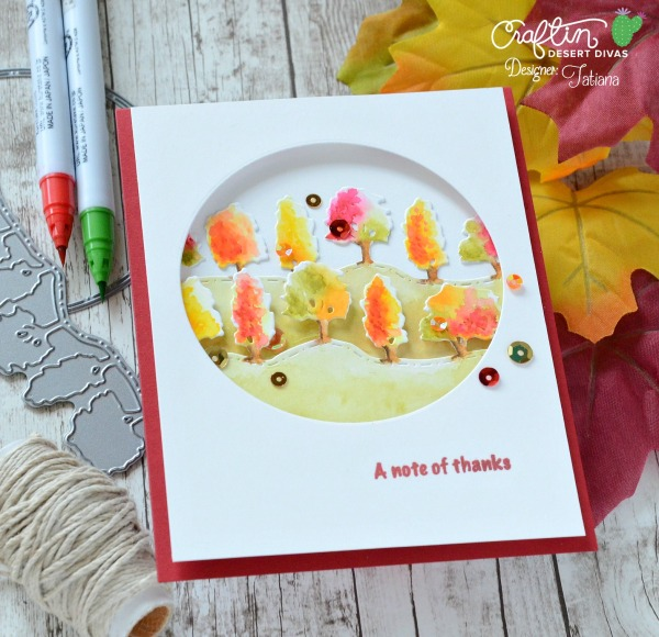 A Note Of Thanks #handmadecard by Tatiana Trafimovich #tatianacraftandart - Fall Border dies by Craftin Desert Divas #craftindeserdivas