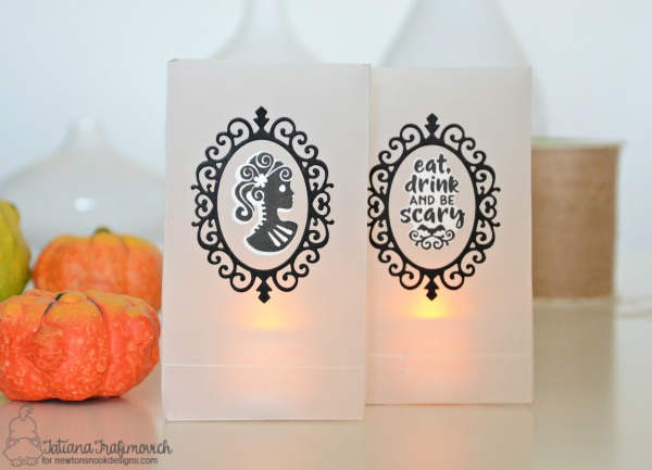 Eat Drink And Be Scary #handmade luminaries by Tatiana Trafimovich #tatianacraftandart - Creepy Cameos stamp set by Newton's Nook Designs #newtonsnook