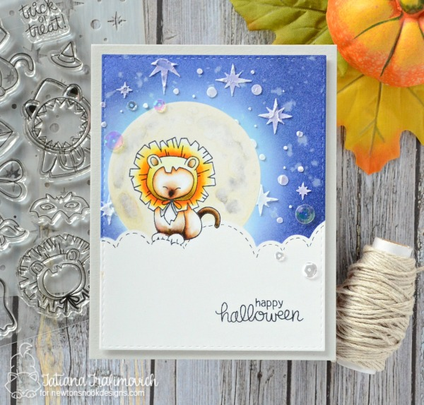Happy Halloween #handmade card by Tatiana Trafimovich #tatianacraftandart - Newton's Costume Party stamp set by Newton's Nook Designs #newtonsnook