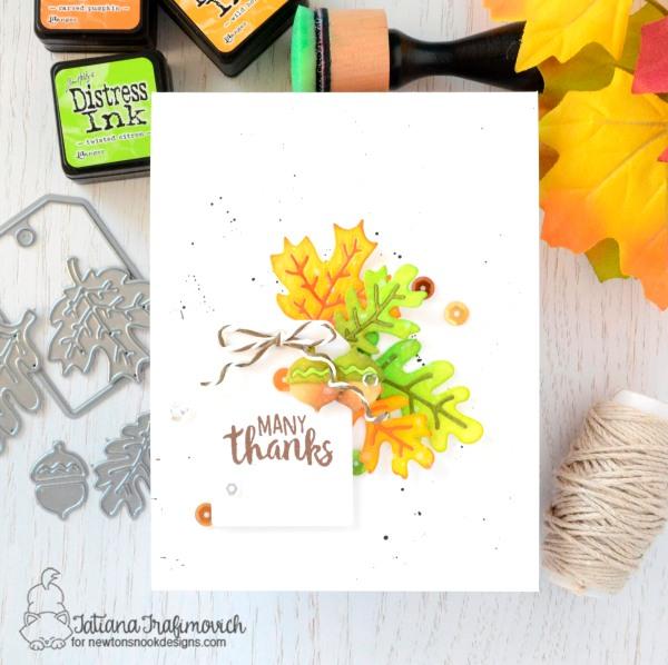 Many Thanks #handmade card by Tatiana Trafimovich #tatianacraftandart - Autumn Leaves Dies by Newton's Nook Designs #newtonsnook
