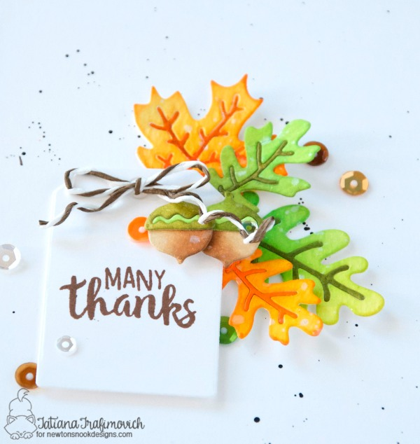 Many Thanks #handmade card by Tatiana Trafimovich #tatianacraftandart - Autumn Leaves Dies by Newton's Nook Designs #newtonsnook