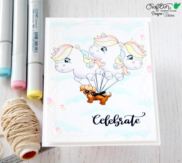 Celebrate #handmadecard by Tatiana Trafimovich #tatianacraftandart - Balloon Parade stamp set by Craftin Desert Divas