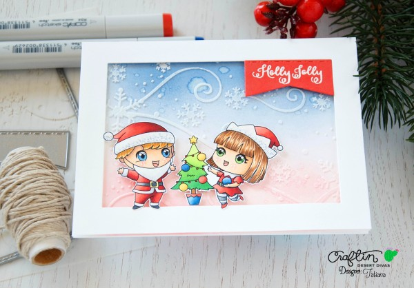 Holly Jolly #handmadecard by Tatiana Trafimovich #tatianacraftandart - Holly Jolly stamp set by Craftin Desert Divas #craftindeserdivas