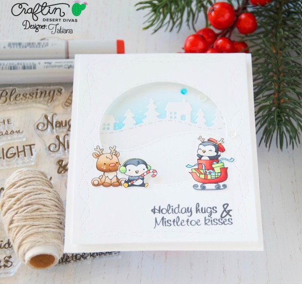 Holiday Hugs #handmadecard by Tatiana Trafimovich #tatianacraftandart - Holly Jolly stamp set by Craftin Desert Divas #craftindeserdivas