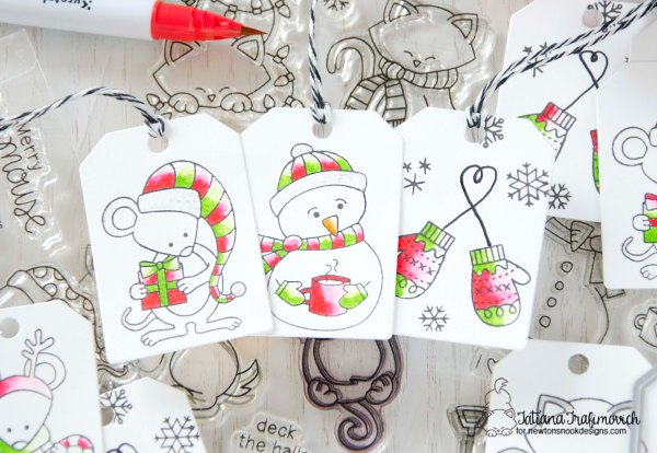 Christmas Tags #handmade by Tatiana Trafimovich #tatianacraftandart - Tags Times Two die set by Newton's Nook Designs #newtonsnook