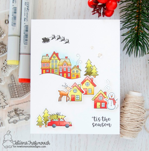 'tis The Season #handmade card by Tatiana Trafimovich #tatianacraftandart - Snow Globe Scenes stamp set by Newton's Nook Designs #newtonsnook